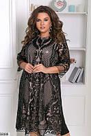 Красивое вечернее платье женское креп-дайвинг+пайетка большого размера 48-58, 2 цвета