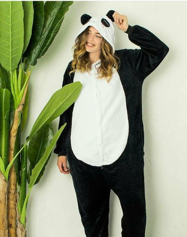 (S, M, L, XL)  Одежда для дома кигуруми панда черно-белая v107