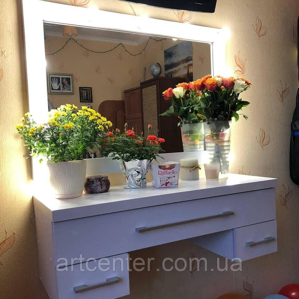 Навесной столик для макияжа с зеркалом, центральный ящик с разделителями внутри