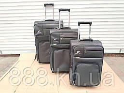 """Набор чемоданов Three birds 20"""",23"""",26"""" с расширением (3шт) на 2-х колесах, набір валізи (черный)"""