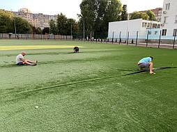 Укладка синтетической травы на школьном стадионе, г. Одесса 6