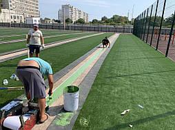 Укладка синтетической травы на школьном стадионе, г. Одесса 7