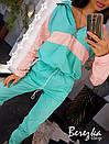 Спортивный женский костюм из плащевки с худи с молнией на груди и манжетами на штанах 66spt738Е, фото 2