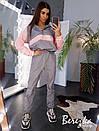 Спортивный женский костюм из плащевки с худи с молнией на груди и манжетами на штанах 66spt738Е, фото 7