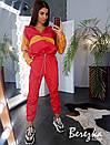 Спортивный женский костюм из плащевки с худи с молнией на груди и манжетами на штанах 66spt738Е, фото 8