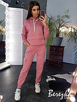 Утепленный спортивный костюм с худи на флисе и штанами на манжетах 66spt741Е