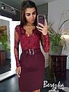 Женская юбка - карандаш из костюмки с поясом 66jus298Е, фото 2
