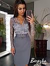 Женская юбка - карандаш из костюмки с поясом 66jus298Е, фото 6