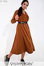 Вельветовое платье большого размера длиной миди с расклешенной юбкой 1blr237, фото 2