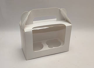 """Картонная коробка """"Белая на 2 капкейка"""""""
