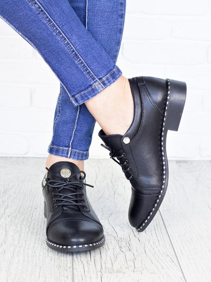 Повседневные кожаные женские туфли на шнуровке и небольшом каблуке 75OB40