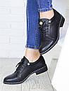 Повседневные кожаные женские туфли на шнуровке и небольшом каблуке 75OB40, фото 2