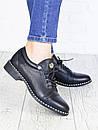 Повседневные кожаные женские туфли на шнуровке и небольшом каблуке 75OB40, фото 3