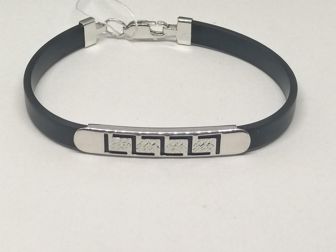 Срібний браслет з каучуком. Артикул 910033С 17