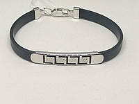 Срібний браслет з каучуком. Артикул 910033С 17, фото 1