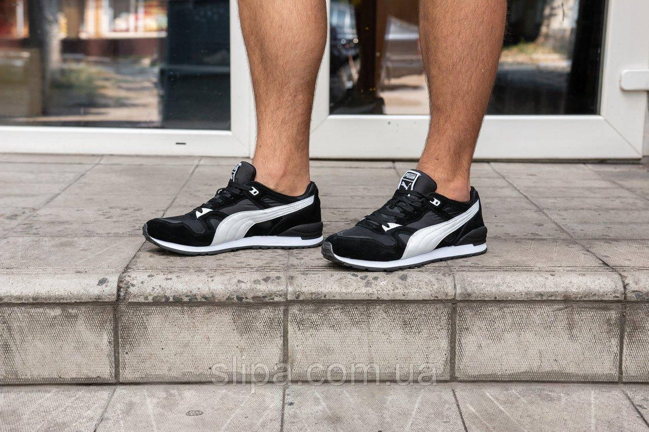 Мужские кроссовки Puma чёрные с белыми вставками на шнуровке