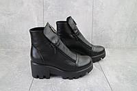 Кожаные женские зимние ботинки черного цвета