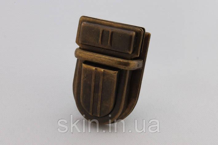 Замок для сумки, размер - 30 мм. * 43 мм., цвет - антик, артикул СК 5538, фото 2