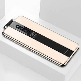 Чехол накладка для Vivo X27 Pro с поверхностью из закаленного стекла, Stylish, золотистый