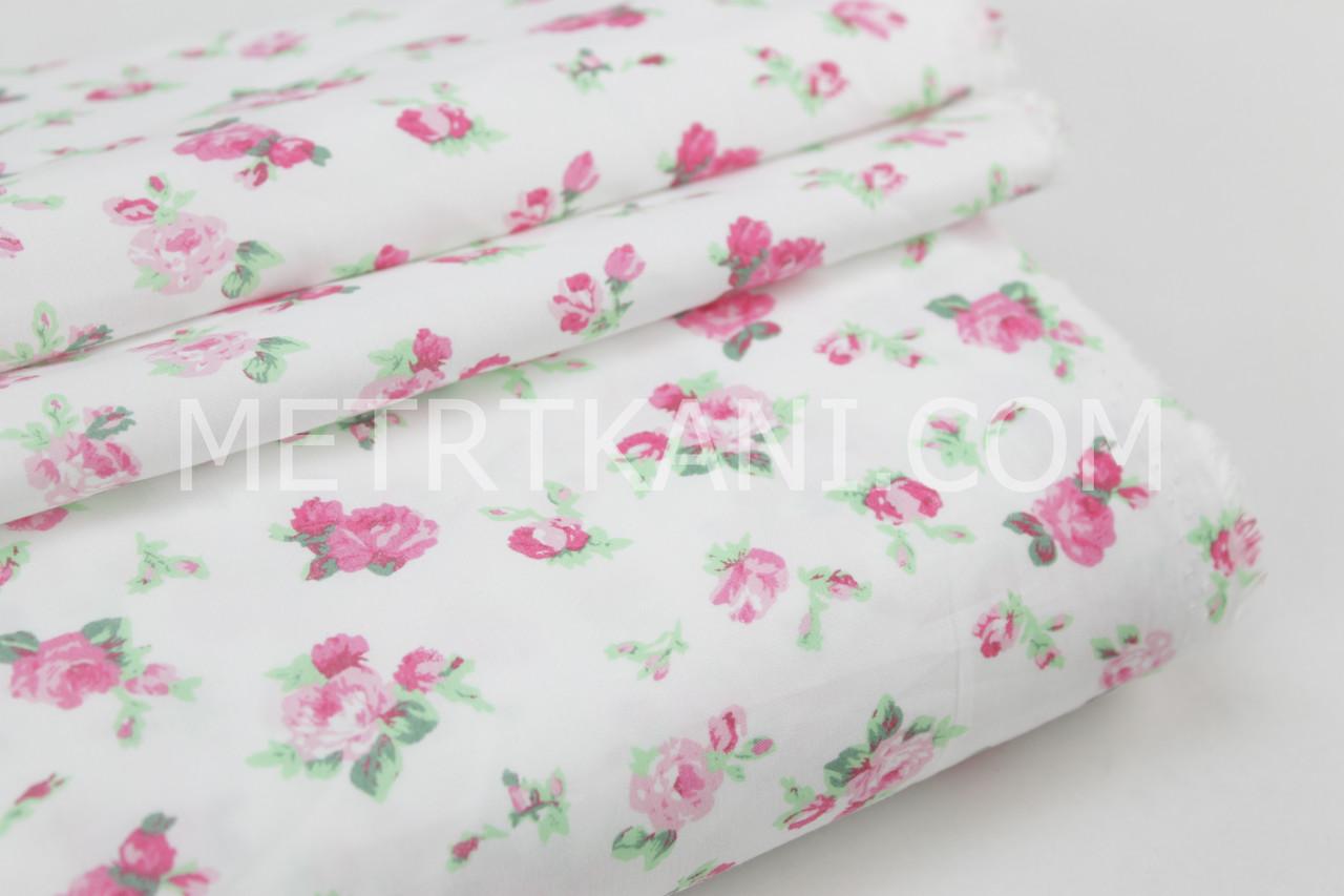 Ткань хлопковая  Mist розочки  на белом фоне №07