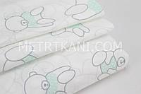 Хлопковая ткань премиум класса с мишками в мятных свитерах №3-425