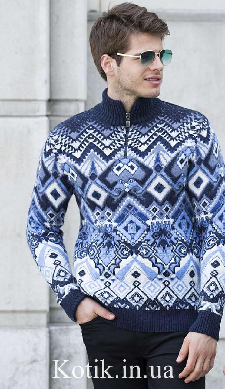 Свитер мужской Pulltonic Синий орнамент