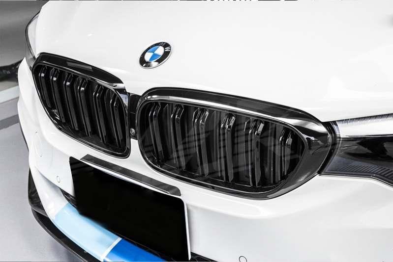 Решетки радиатора BMW G30 тюнинг ноздри стиль M5 (черный глянц)