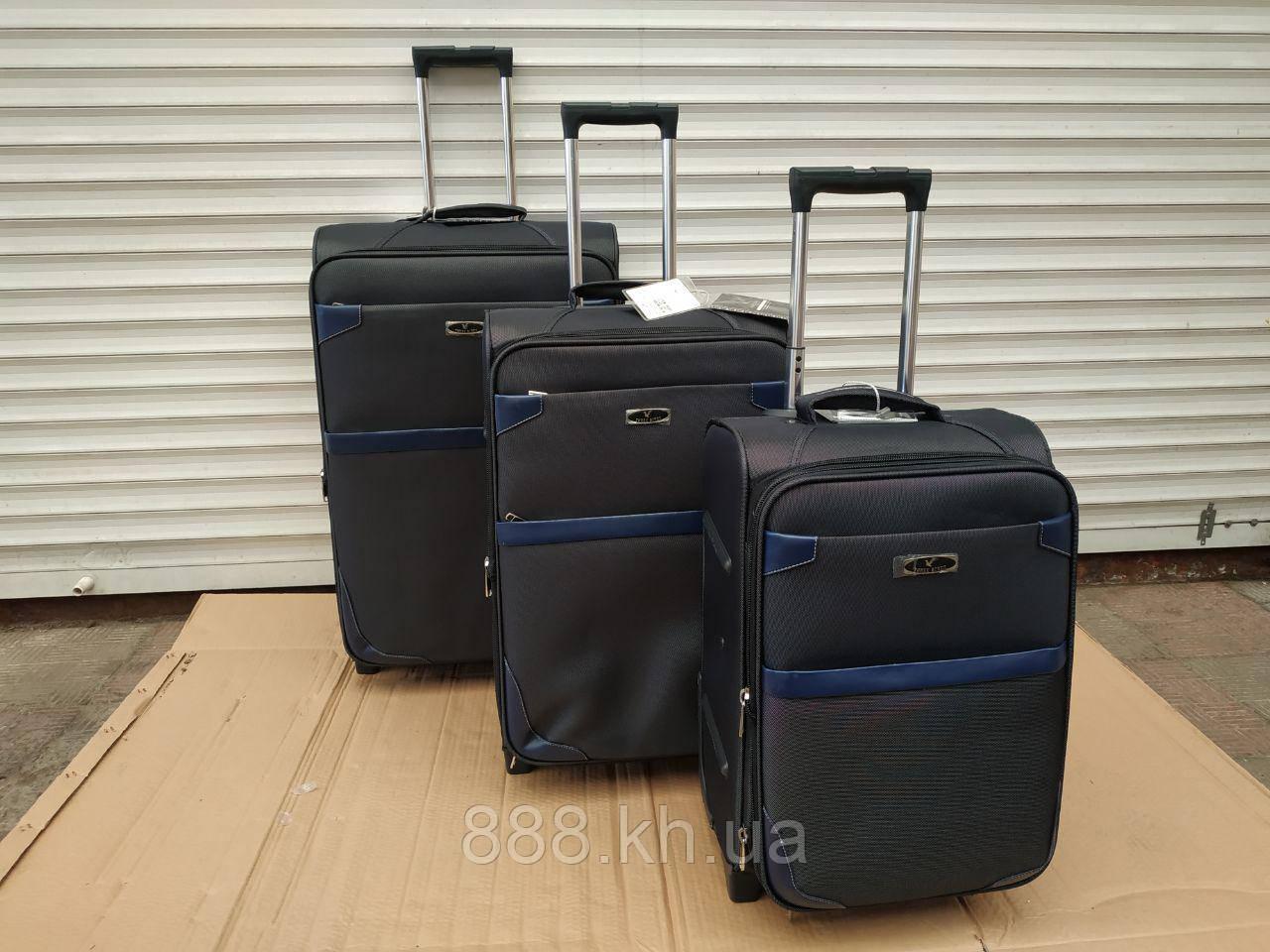 "Набор чемоданов Three birds 20"",23"",26"" с расширением (3шт) на 2-х колесах, набір валізи (синий)"