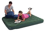 Надувная кровать велюр с насосом Intex 66928