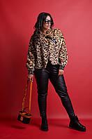 """Узкие комбинированные женские брюки """"Mira"""" с кожаными вставками (большие размеры)"""