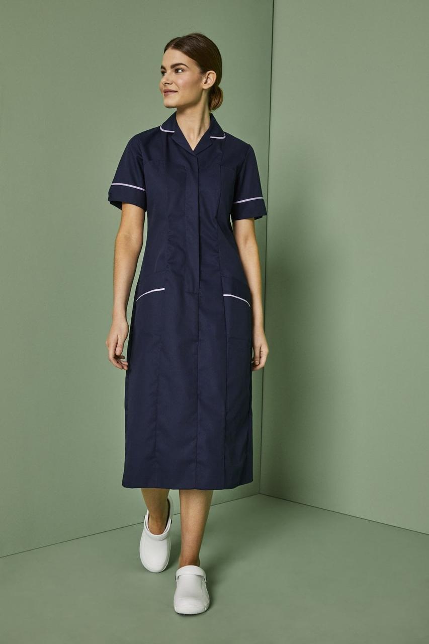 Медицинский халат женский темно-синий с голубым кантом - 03401