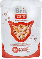 Консервы Brit Care Cat Chicken & Cheese pouch 80 г (курица+сыр)
