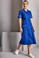 Медицинский халат женский синий электрик с белым кантом - 03402