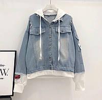 Женская джинсовая куртка оверсайз с белым капюшоном 77mku123, фото 1