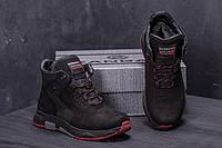 Мужские зимние кожаные ботинки ZG Black  Red Exclusive