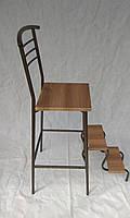 Барный стул стремянка каркас бронза сиденье вишня малага