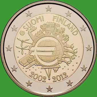 Финляндия 2 евро 2012 г. 10 лет наличному обращению евро . UNC.