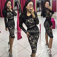 Платье дорогой гипюр с подкладкой nude