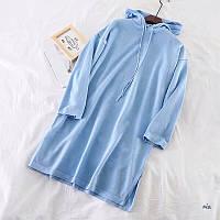 Женское платье - худи из двухнитки с капюшоном 77mpl137, фото 1