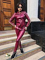 Кожаные женский брючный костюм с кофтой на молнии 72mko190, фото 1