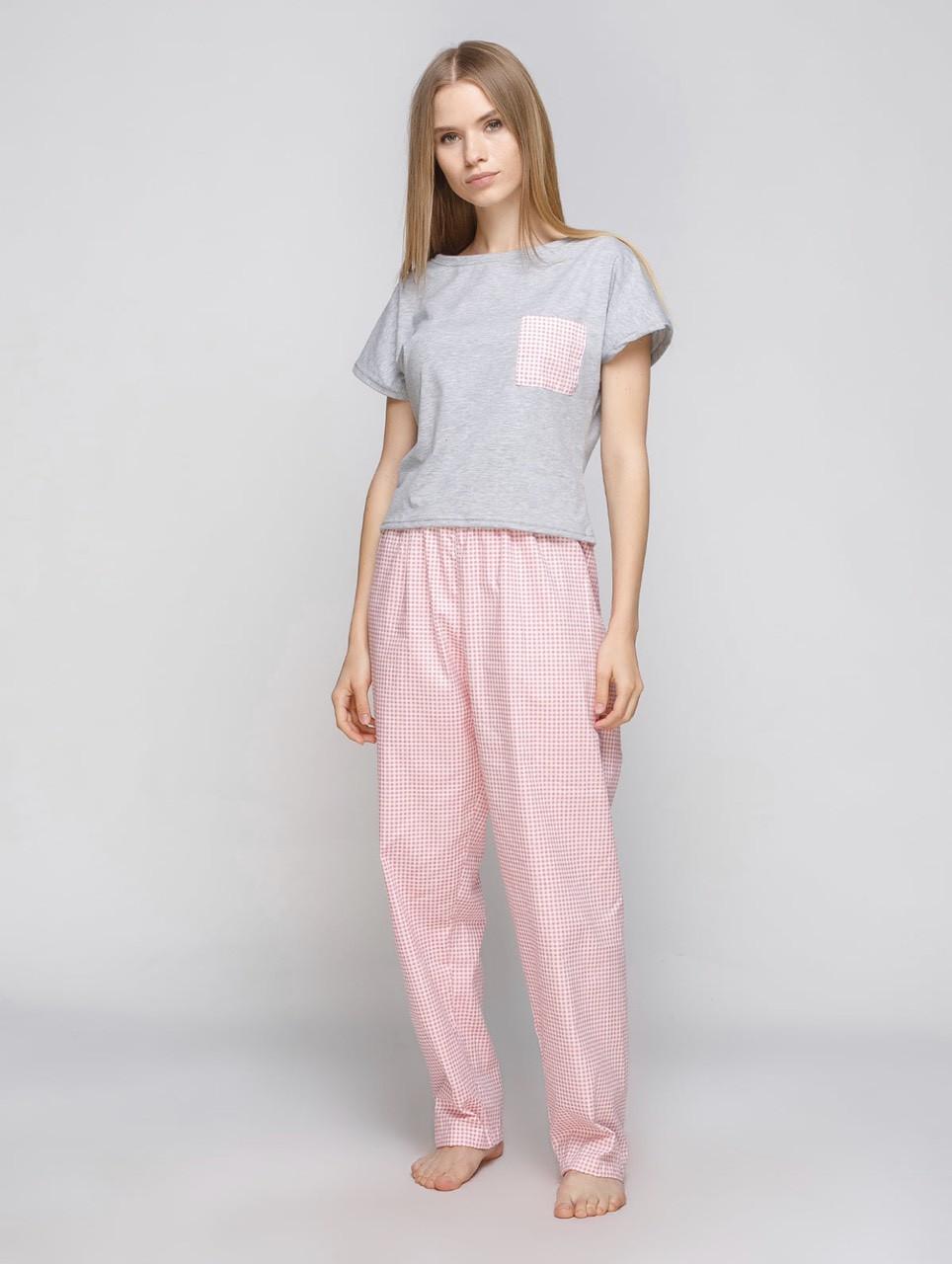 Комплект пижама женская розовая клетка (штаны + футболка)