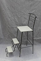 Барный стул со ступеньками цвет каркаса хром