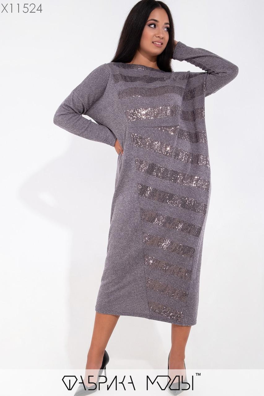 Ангоровое платье большого размера длиной миди прямого фасона 1mbr232, фото 1