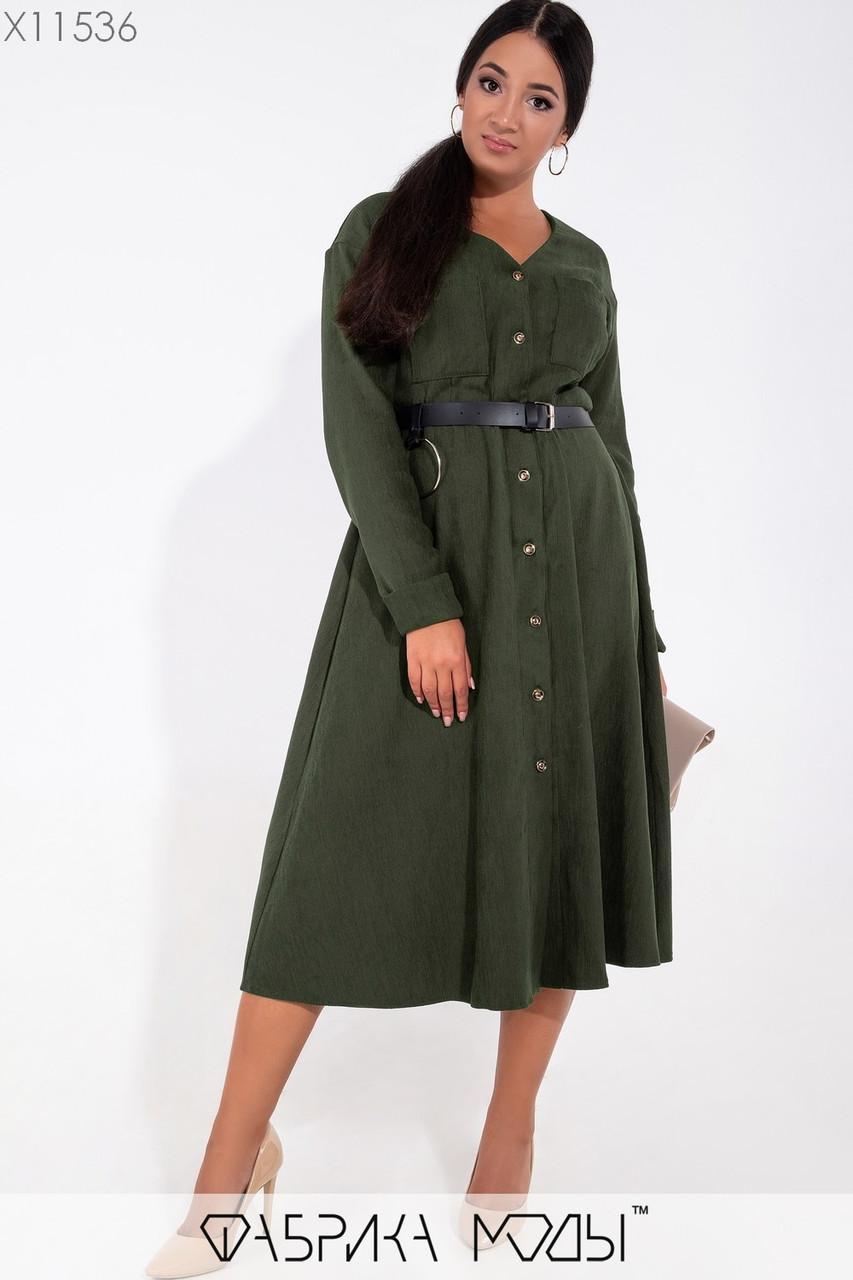 Вельветовое платье большого размера длиной миди с расклешенной юбкой 1mbr237, фото 1