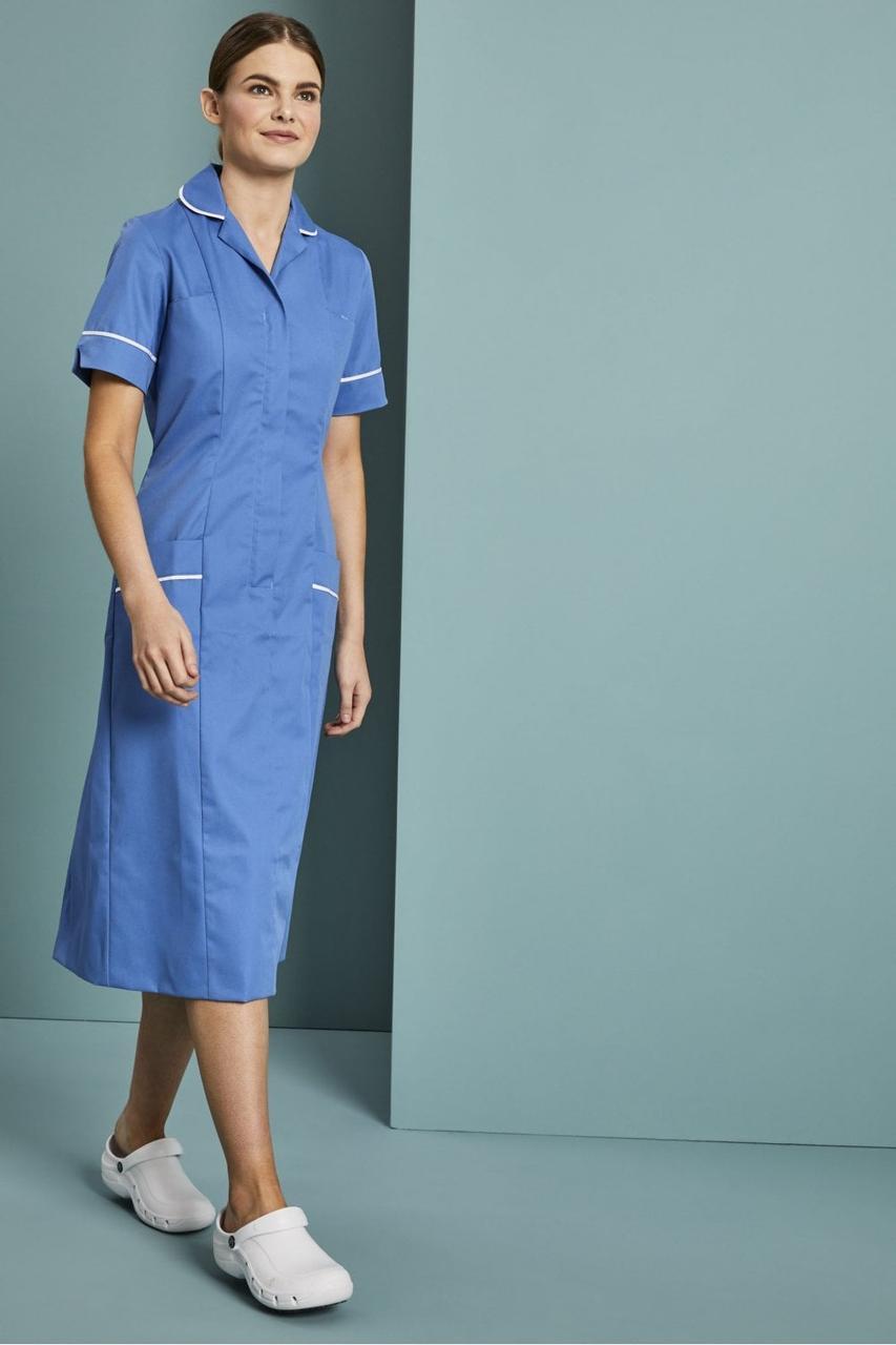 Медицинский халат женский голубой с белым кантом - 03404