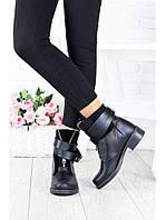 Женские черные кожаные полусапоги на маленьком каблуке 75OB43, фото 1