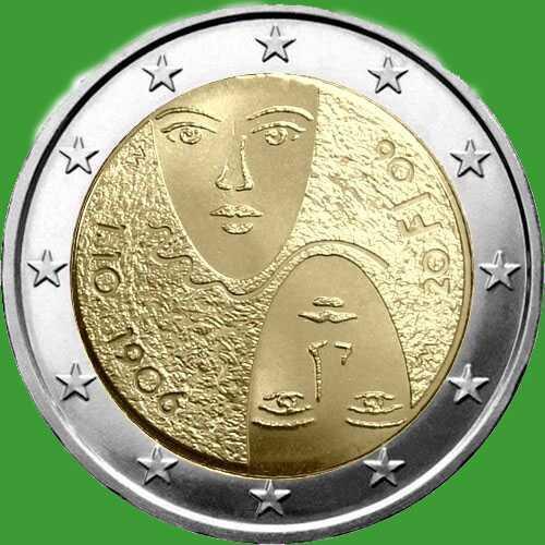 Финляндия 2 евро 2006 г. 100-летие введения в Финляндии равного избирательного права . UNC