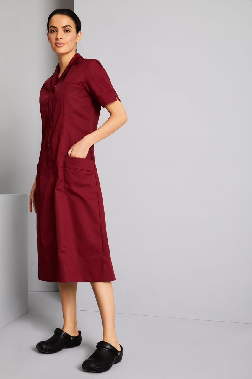 Медицинский халат женский бордовый - 03406