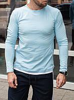 Футболка с длинным рукавом голубого цвета с белой окантовкой, фото 1