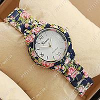Часы наручные женские Geneva Platinum Blue-flower/White